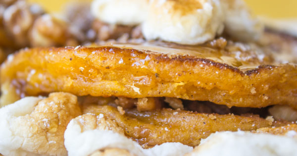 Sweet Potato Maple Pie Pancakes With Candied Walnuts and Marshmallows