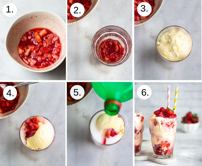 step by step instruction on how to make a strawberry ice cream float
