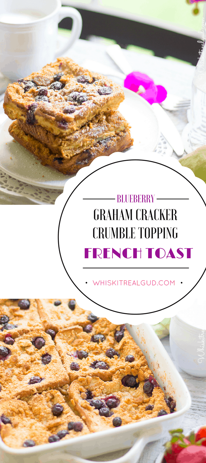 Sweet blueberries embedded in warm custardy french toast, topped with crunchy graham cracker crumble topping. Breakfast can't get any better than this! An easy breakfast your whole family will enjoy!