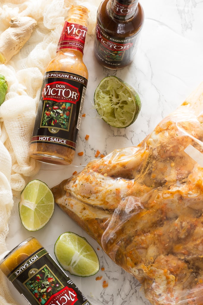 These easy, crispy, sticky, honey ginger marinated chicken wings are slathered in a syrupy spicy carrot hot sauce glaze which is made with melted butter, honey, Don Victor's® unique hot sauce and more. The combination of the smoky hot sauce, which contains carrots as one of the ingredients, plus with my addition of more fresh carrots, gives this chicken a bright lustrous amber color. So delicious you won't be able to stop eating them! I'm not ashamed to say I ate 9 of them! These wings are perfect for lazy weekends, or a great appetizer for game day!