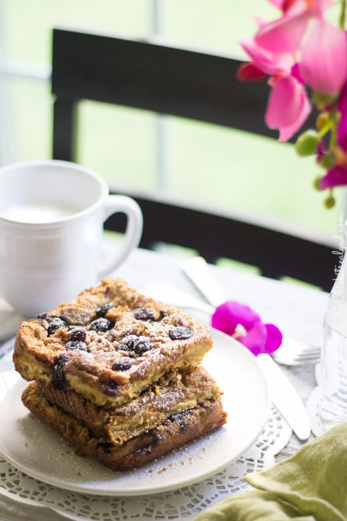 Baked Blueberry French Toast With Graham Cracker Crumble Topping