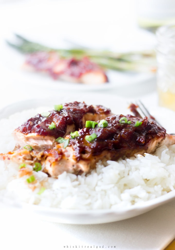 Salmon with Rhubarb Sweet Chili Sauce. Spicy, sweet, and savory, this glazed salmon is a perfect quick and easy weekday dinner!