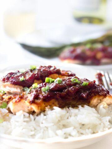 Salmon Recipe with rhubarb glaze