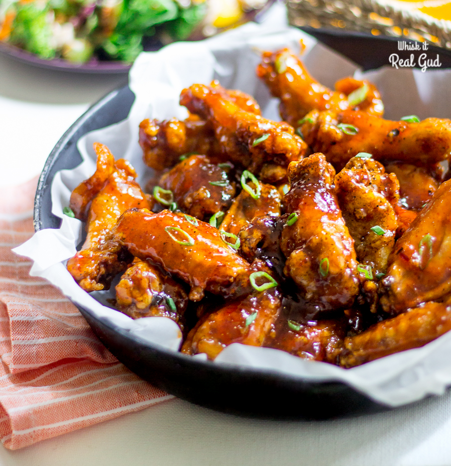 Peach Chipotle Honey Wings will be loved by your entire family and friends! These sticky peachy, crispy, sweet and tangy wings with a bit of a kick, are so easy and a cinch to make! Done in under 30 minutes! Winning! The best wing choice for game day!