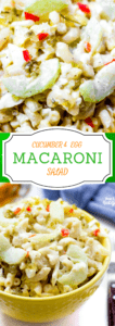 Creamy macaroni salad with cucumbers and eggs