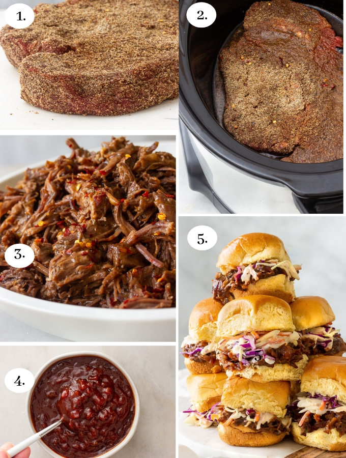 Slow Cooker BBQ Pulled Beef step by step.