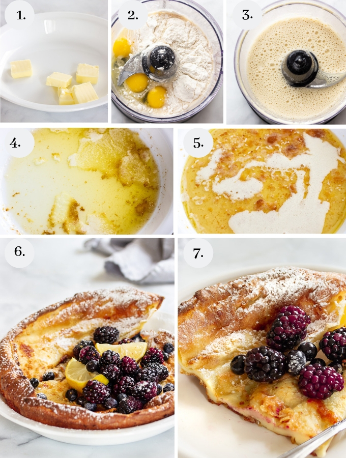 a step by step pictorial on how to make a German Pancake
