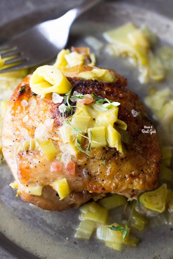braised cider chicken on plate