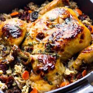 One Pan Apple Cider Glazed Roasted Butterflied Chicken With Rice