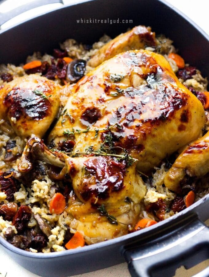 One pan is all it takes to make this seared juicy and moist Apple Cider Roasted Butterflied Chicken Rice Bake. The rice gets its delicious flavor from the chicken juices and a chicken base. Once done, the chicken is glazed with a delicious apple cider thyme white wine glaze.