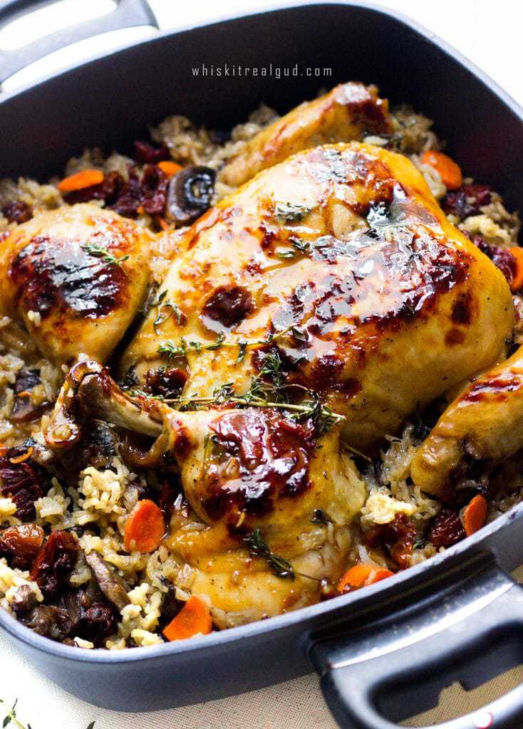 butterflied-roasted-chicken-and-rice-bake-with-apple-cider-thym-white ...
