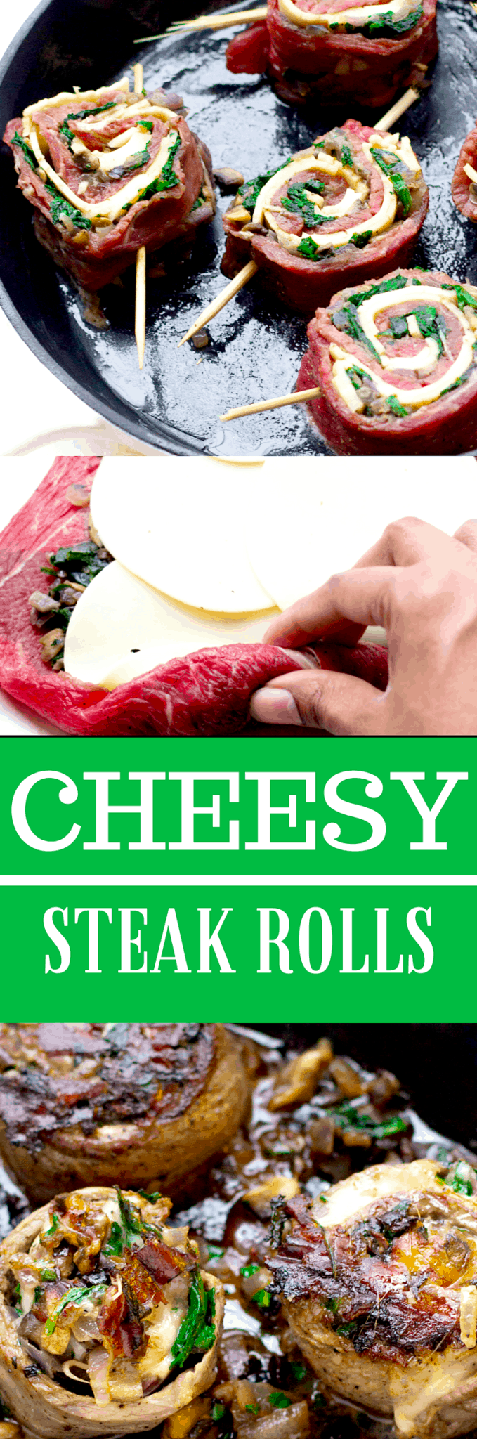 Quick Cheesy Spinach and Mushroom Steak Rolls