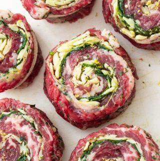 A plate of steak pinwheels