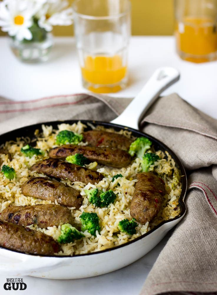 One Pan Baked Sausage Broccoli Rosemary and Garlic Rice