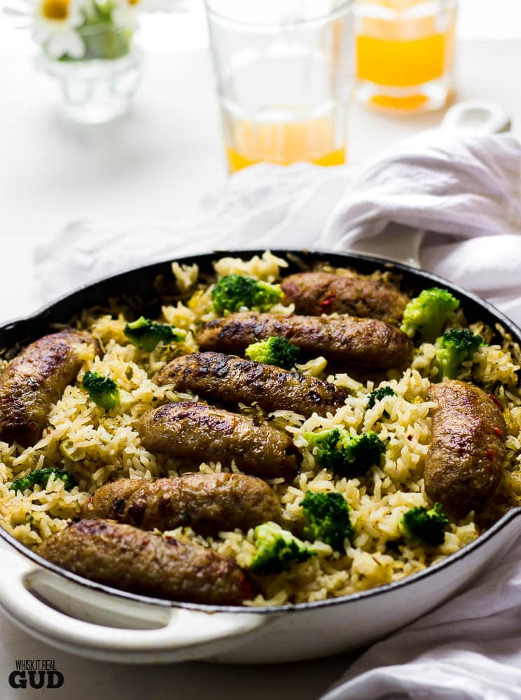 One Skillet Baked Sausage Broccoli Rosemary and Garlic Rice