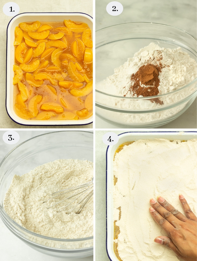 Step by step pics on how to make peach cobbler using canned peaches