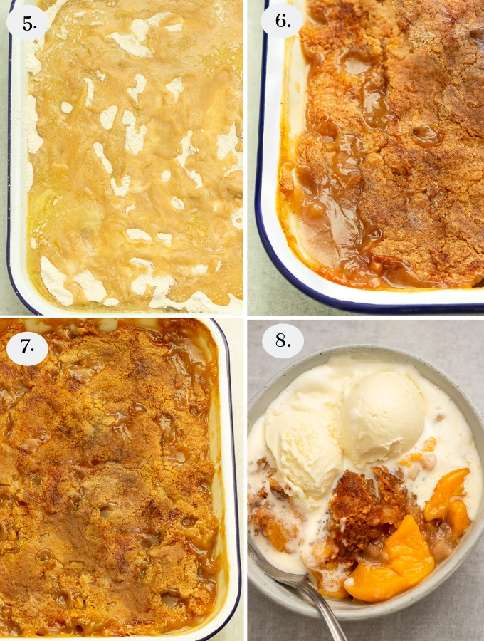 Step by step pics on how to make peach cobbler using canned peaches. Fresh peaches can be used as well