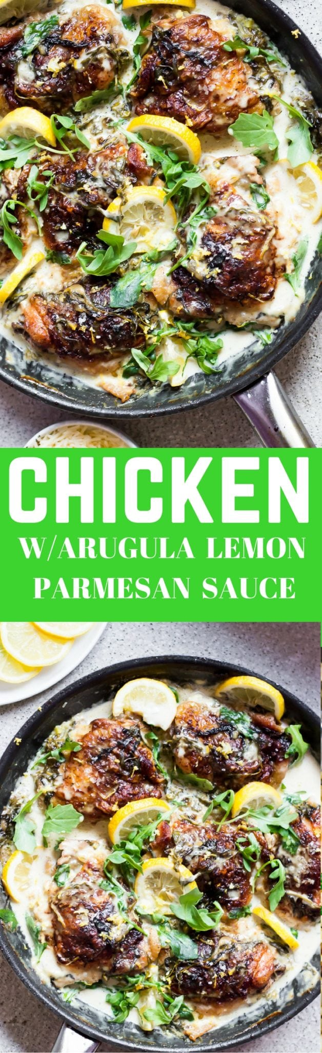 Tender, crispy, juicy chicken meets peppery arugula in a rich creamy lemon parmesan sauce. If you love chicken in creamy sauces then you have to try this restaurant quality dish. It's a favorite of mine and I am glad to share this recipe with you. I am sure you are going to LOVE IT! Make sure you serve this with garlic bread!