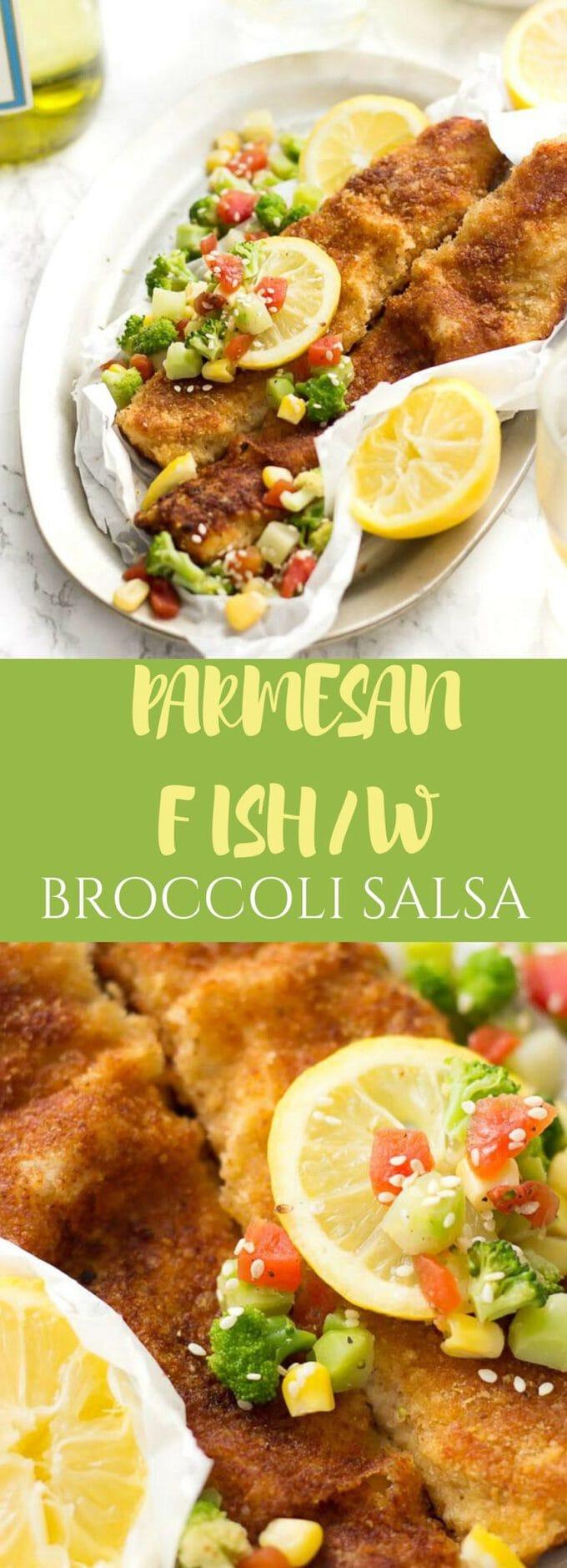Parmesan Fish With Broccoli, Corn and Tomato Salsa