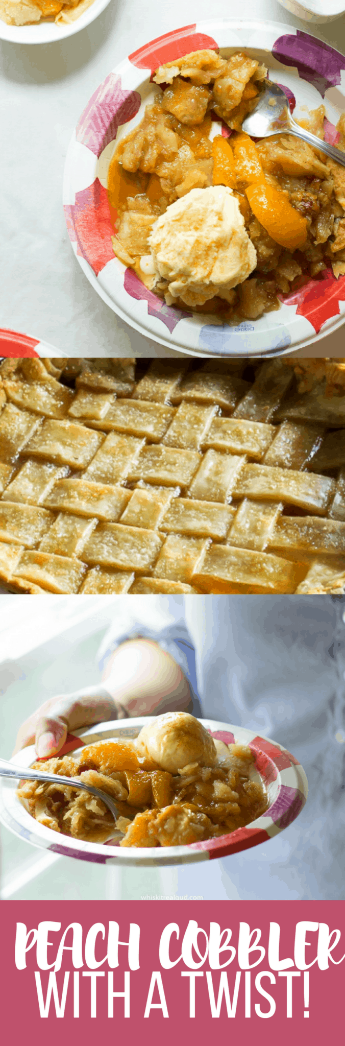 Peach Cobbler with a twist (check the recipe)! Buttery, flaky crust, juicy peaches and caramel sauce!