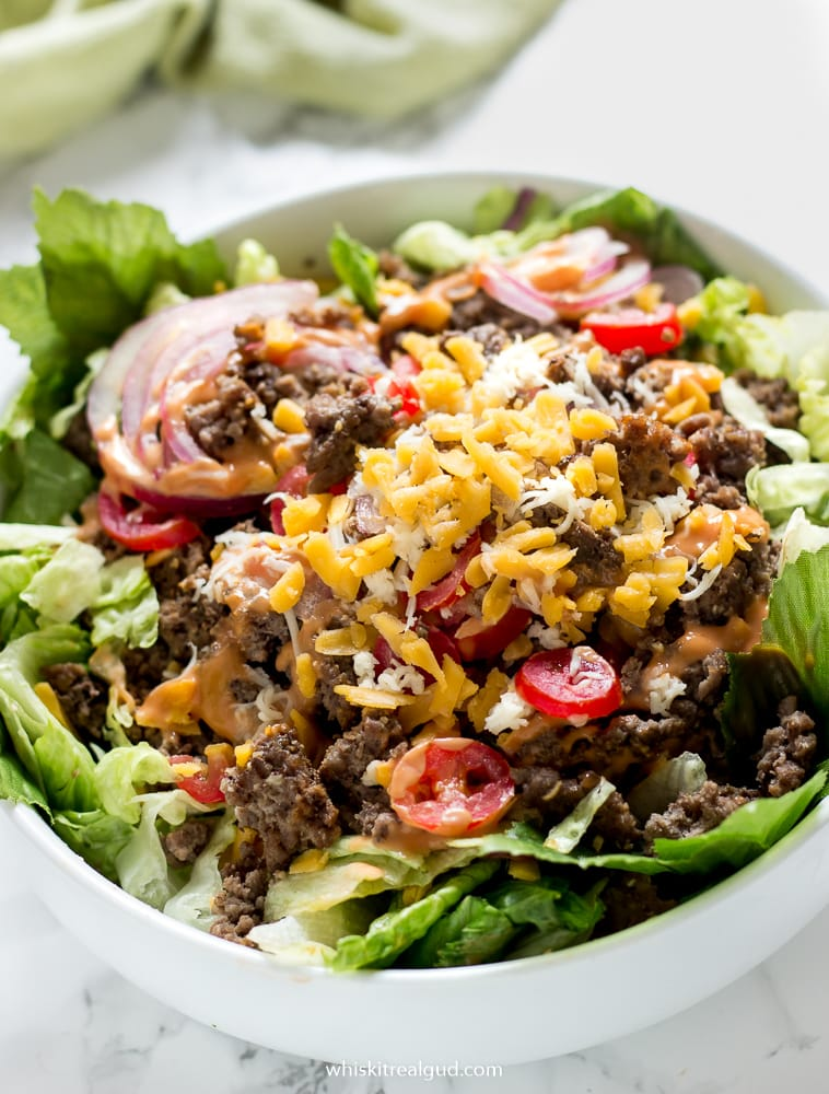 Just looking at this colorful hearty juicy cheeseburger salad makes me hungry! Juicy cheeseburger in a salad form. Ketogenic approved! #keto #low carb