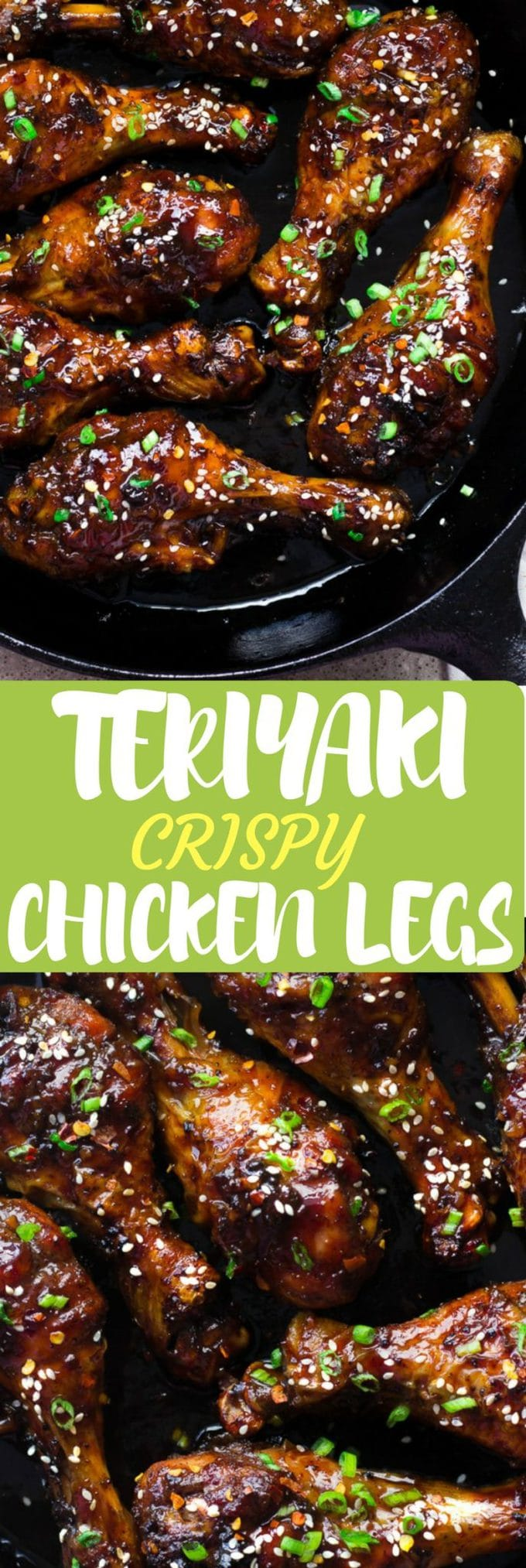 This Teriyaki crispy chicken is a perfect plan B recipe. This easy teriyaki sauce cooks up in minutes and the crispy chicken legs are simple too and much healthier than fried chicken. Just a couple of steps to prep the chicken and then pop it into the oven and let it bake until it's crispy, tender and juicy then slather on the sweet sticky savory teriyaki sauce!