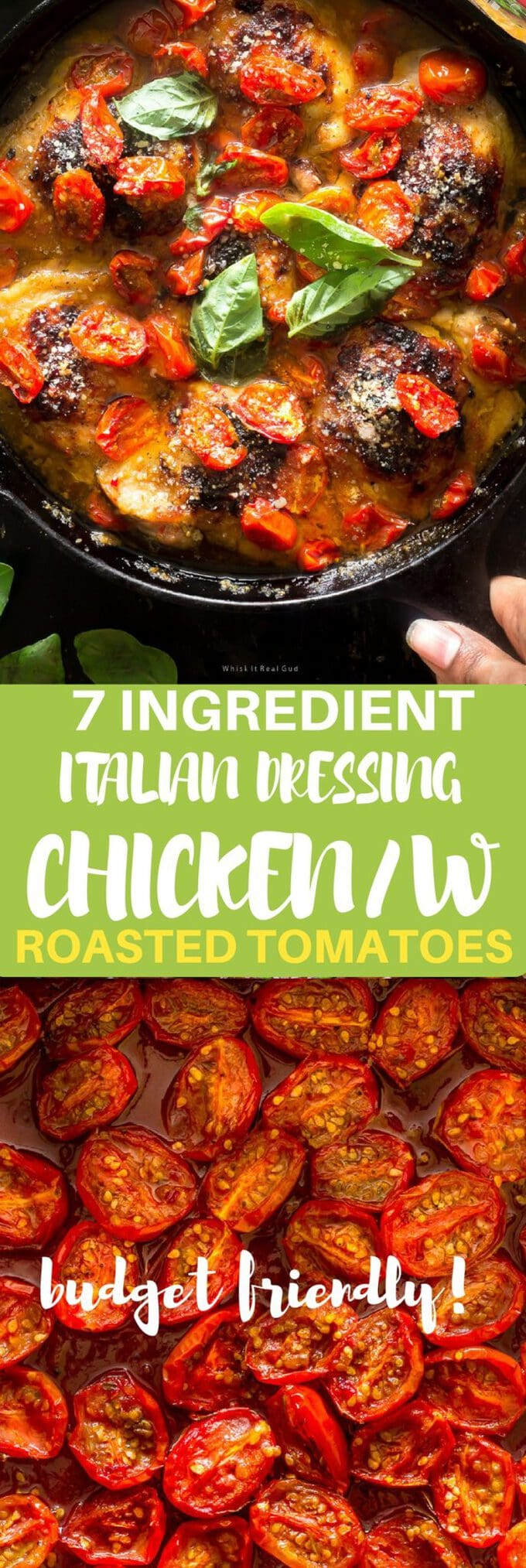 Need a plan b recipe? Or maybe you are on a budget and need something to get you through the week? This recipe is perfect for you. School is back in session and I know you need something easy/budget friendly to cook tonight! This easy 7 ingredient Italian dressing baked chicken thighs with roasted tomatoes will be ready in no time. No one will believe you only used Italian dressing and a couple of other ingredients. This meal is definitely budget friendly but restaurant quality!