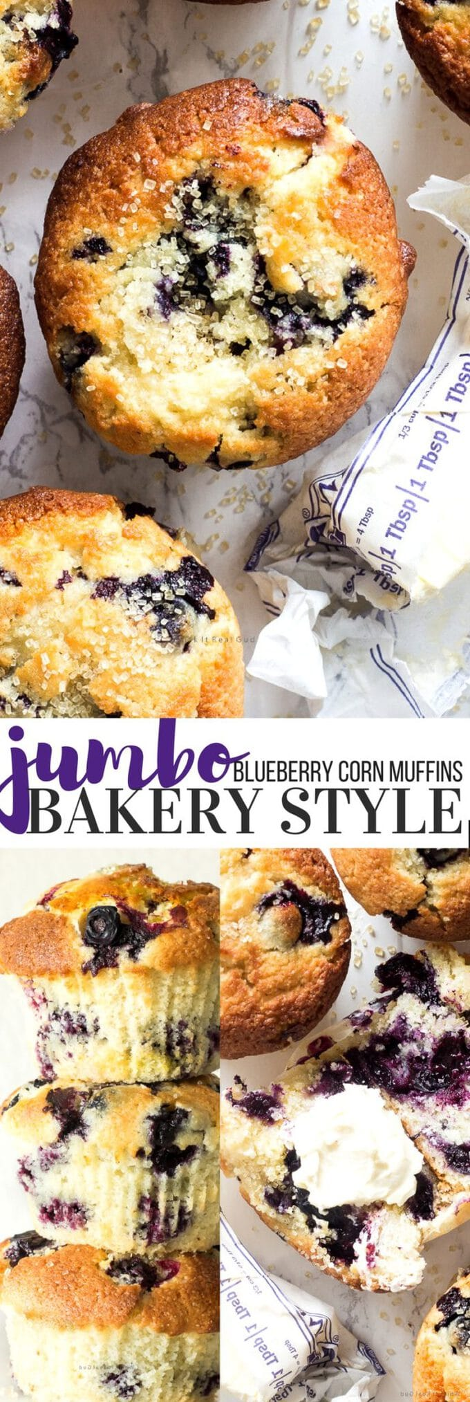 Whenever I make these jumbo bakery style blueberry corn muffins, my family and guests always ask for the recipe. These muffins are are not wimpy muffins. They are jumbo sized, full of blueberries with a slight crusty golden top and soft. These are quick to prepare and an easy treat that can be whipped up for a morning sweet or anytime of the day.
