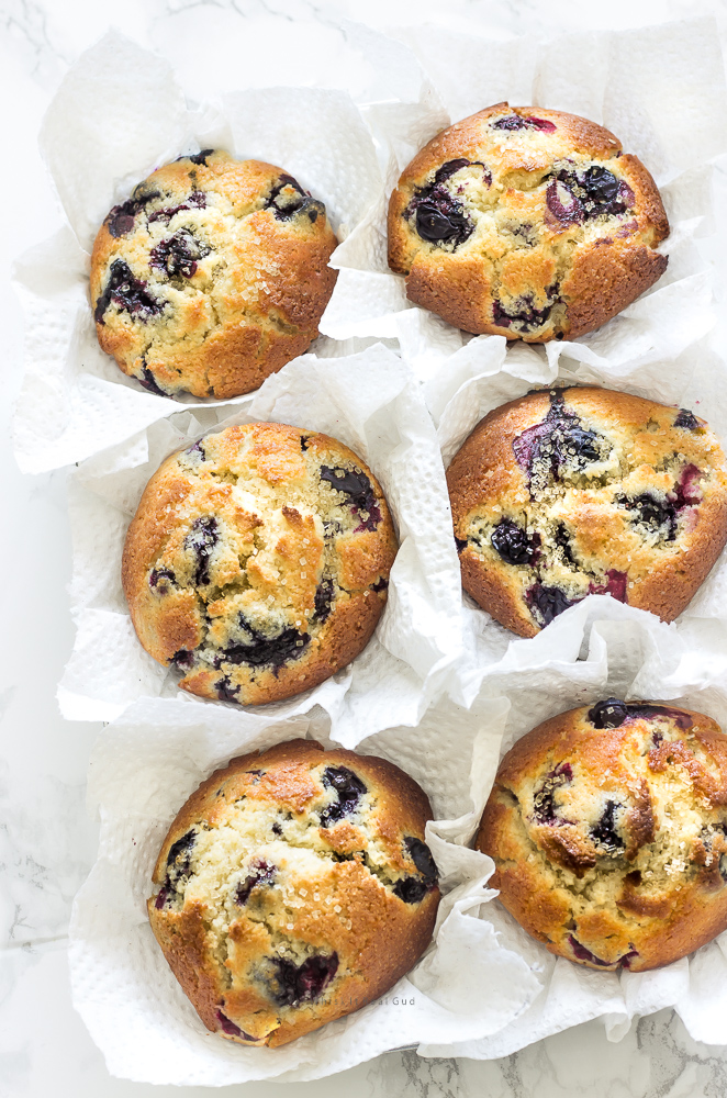 Whenever I make these jumbo bakery style blueberry corn muffins, my family and guests always ask for the recipe. These muffins are are not wimpy muffins. They are jumbo sized, full of blueberries with a slight crusty golden top and soft. Just they way I like them. The combination of corn and blueberry is like no other. These are quick to prepare and an easy treat that can be whipped up for a morning sweet or anytime of the day.