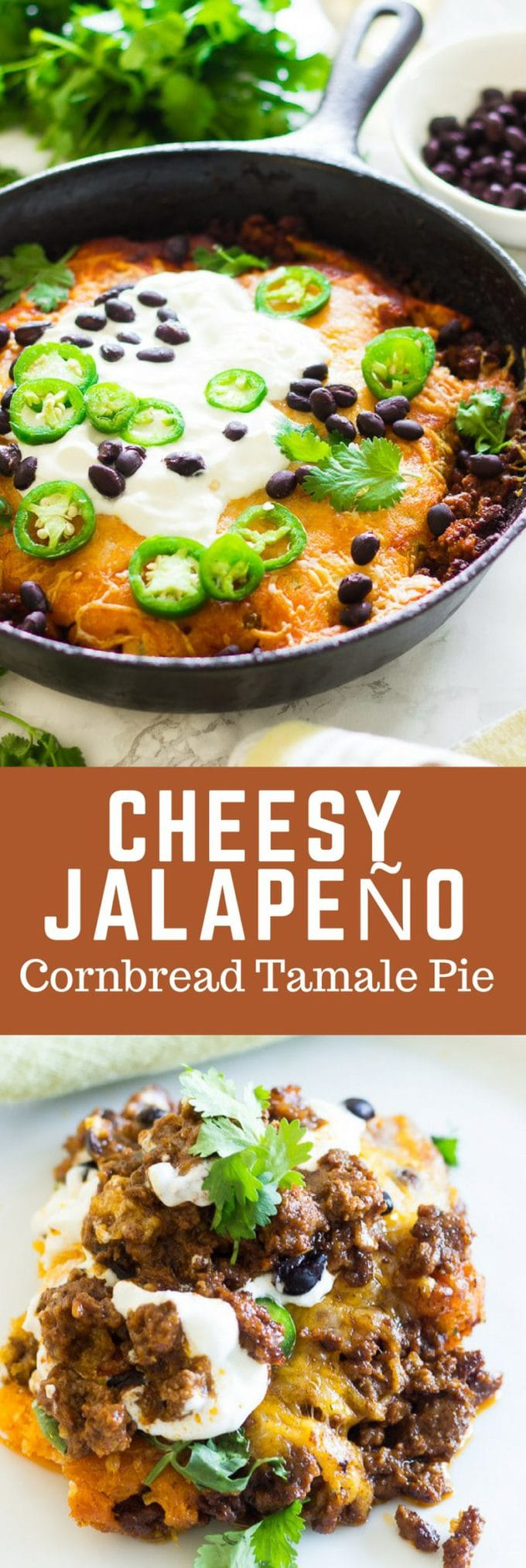 Cheesy tamale pie with cheesy cornbread topping plus more cheese on top of that! It's filled with black beans, more cheese and seasoned ground beef. You can choose to infuse with chili powder mix ,taco seasoning or your favorite enchilada sauce. Top it off with sour cream, jalapeno and more black beans. This is perfect for busy weeknights!