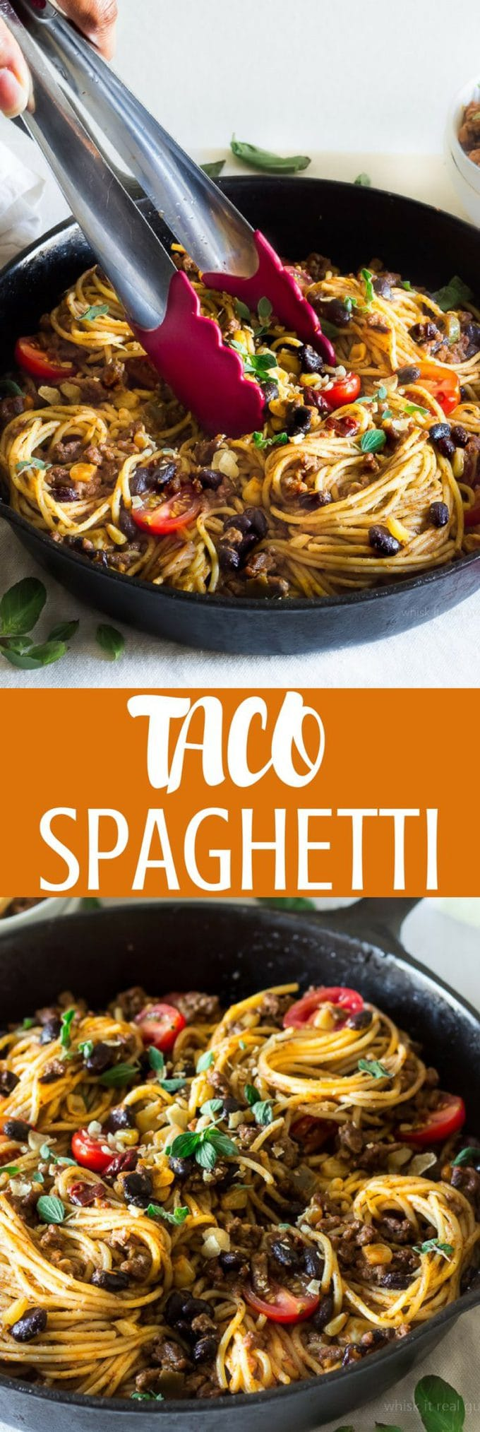 My taco spaghetti is filled with all of my favorite ingredients: Barilla pasta, taco seasoning, ground beef, jalapeno, chipotle, adobo sauce, onions, salsa, black beans, corn, grape tomatoes and fresh herbs. This quick and easy pasta is full of flavor and not too spicy, which makes it kid friendly and perfect for busy weeknights!