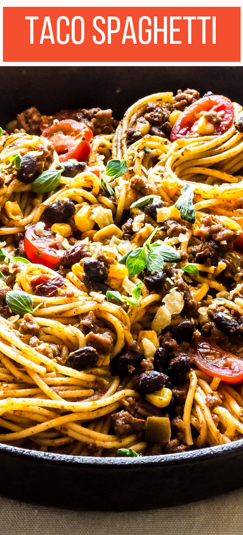 This Taco spaghetti has Parm cheese sauce, taco seasoning, black beans, corn, grape tomatoes & black beans. Delicious kid friendly & perfect for busy weeknights!
