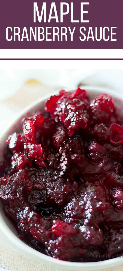 Maple syrup, orange juice and vanilla extract are just some of the ingredients in this cranberry sauce recipe. Who doesn't love maple syrup? It's a perfect side dish for Thanksgiving!