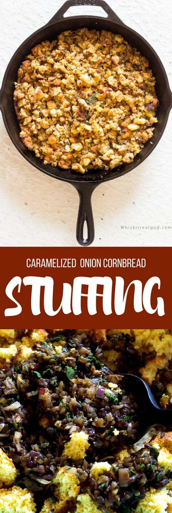 Simple Cornbread stuffing/dressing comes together easily. Caramelized onions, sweet corn muffins and fresh sage. This Cornbread stuffing is moist with a slightly craggy soft top. Simply delicious!