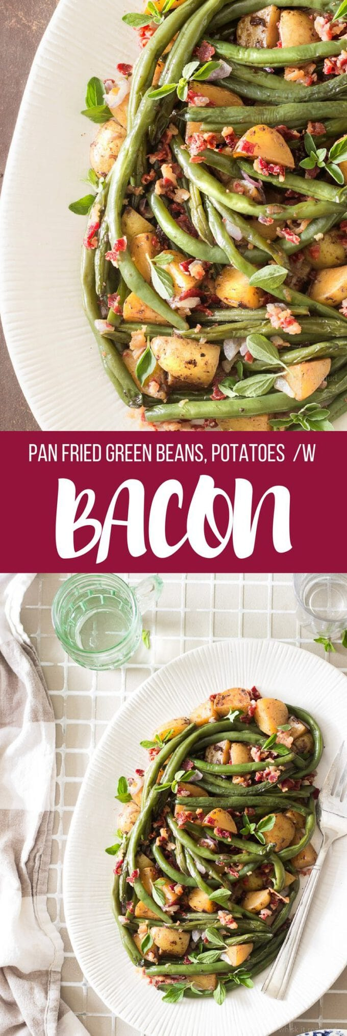 Fresh green beans cooked in a skillet with onions, potatoes and bacon.  So delicious, yet so simple to make. Perfect as a Thanksgiving side dish.