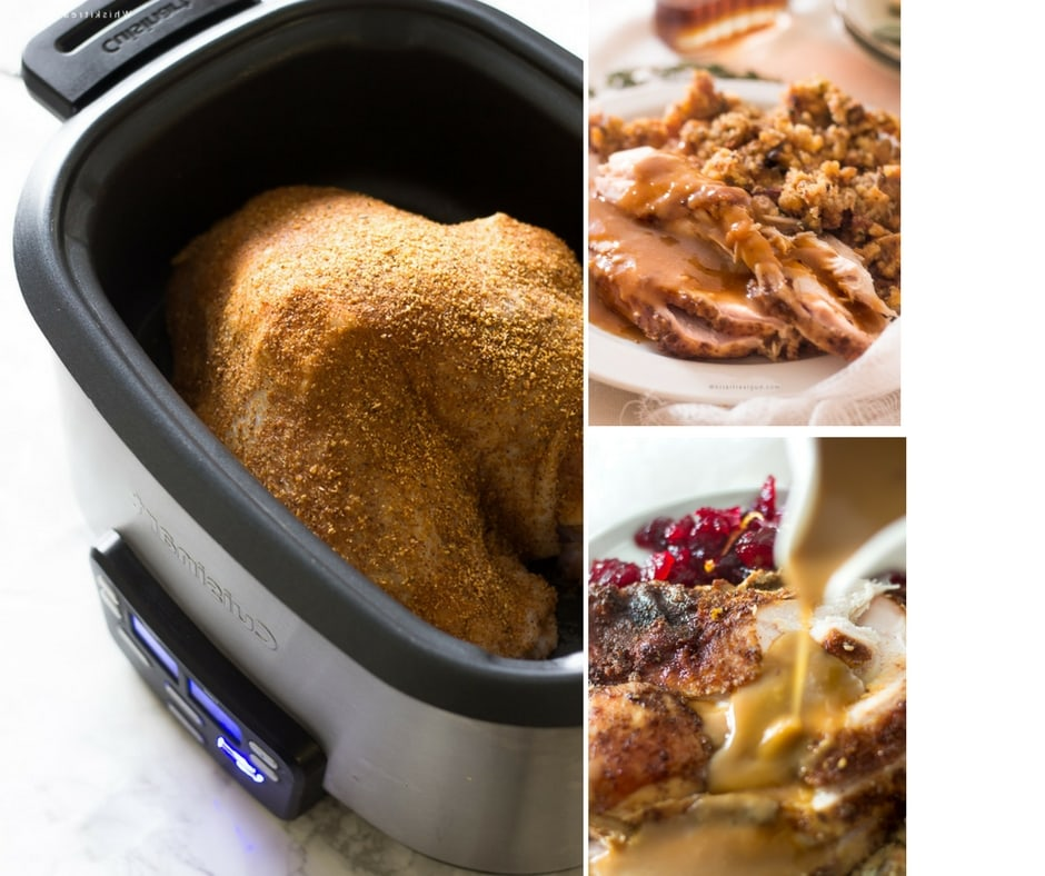 Slow cooker/crock-pot turkey breast is amazingly succulent. This Cajun seasoning maple turkey breast recipe is so simple plus it takes less than 5 minutes to prepare. This Thanksgiving, reserve your oven for your other oven only foods and let your turkey slow cooker to juicy perfection! This recipe can easily be adapted for a whole turkey.