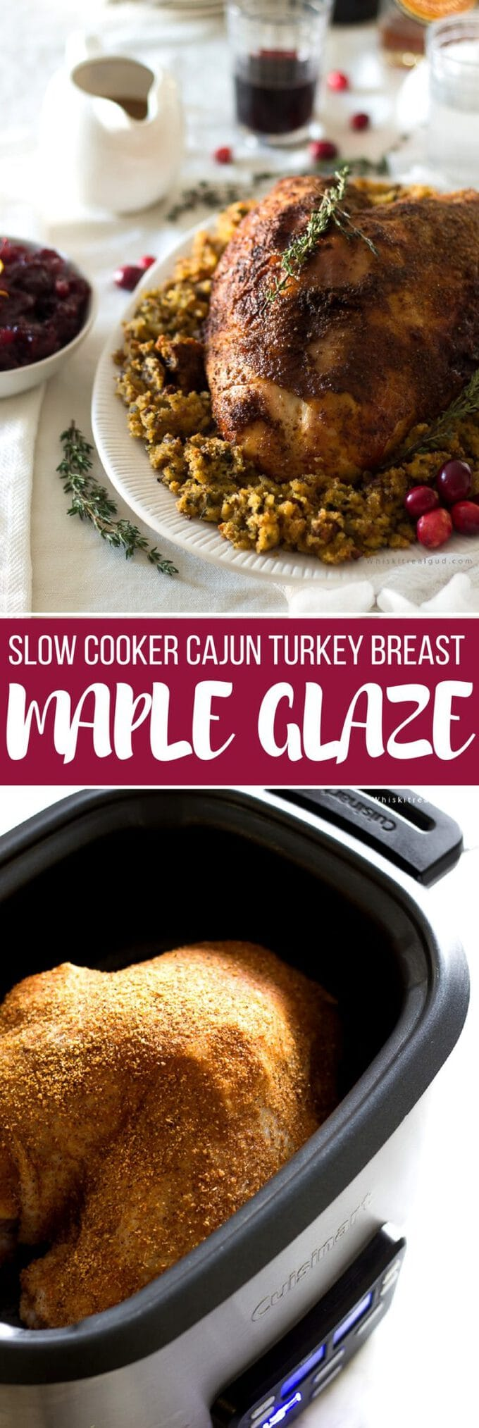 Slow cooker/ crockpot turkey breast is amazingly succulent. This Cajun seasoning maple turkey breast is so simple plus it takes less than 5 minutes to prepare. This Thanksgiving, reserve your oven for your other meals and let your turkey slow cooker to juicy perfection! This recipe can easily be adapted for a whole turkey.
