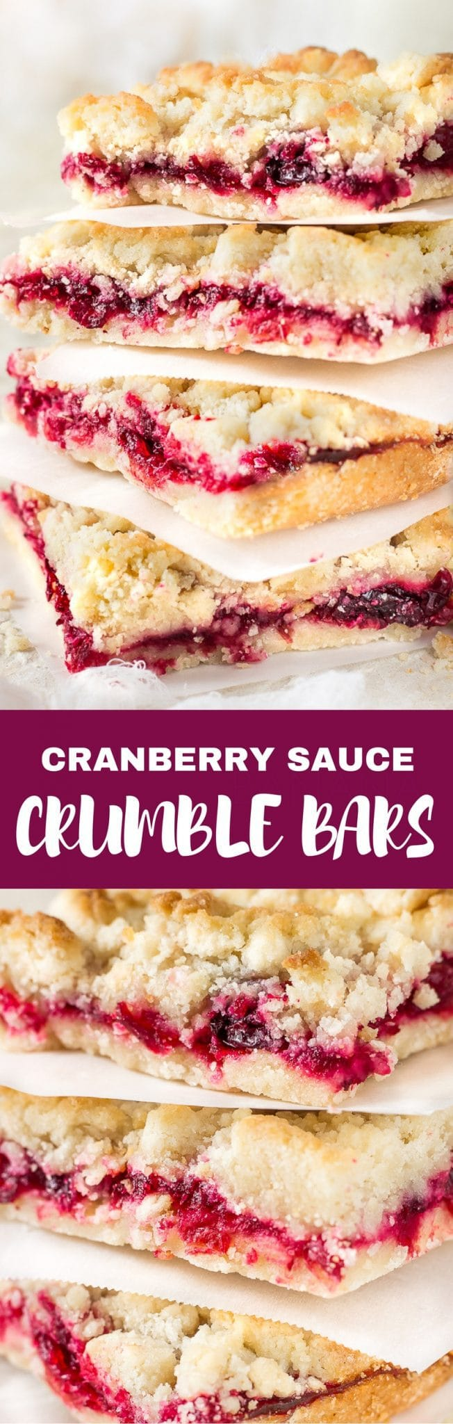 Luscious, buttery, sweet and tart glossy cranberry sauce crumble bars are made with a sweet crumble dough that doubles as a topping. A classic and super easy gorgeous and delicious holiday dessert. You won't be able to eat just one!