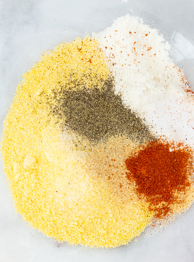 The flour and conrmeal mixture with seasonings