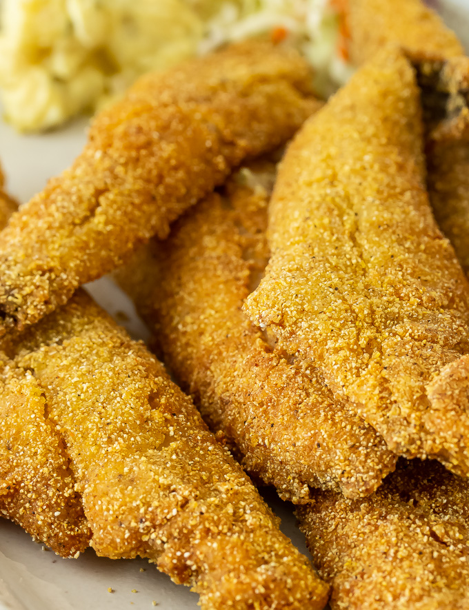A closeup of golden fried whiting fish