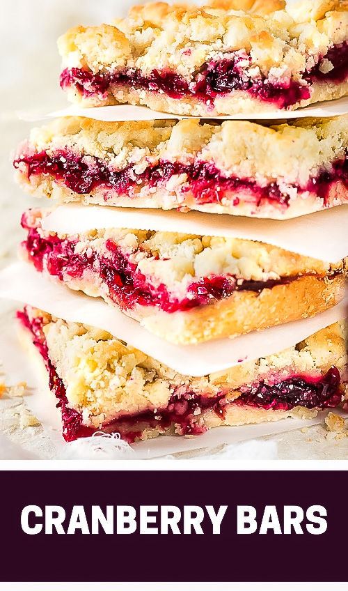 Luscious, buttery, sweet and tart glossy cranberry sauce crumble bars are made with a sweet crumble dough that doubles as a topping.