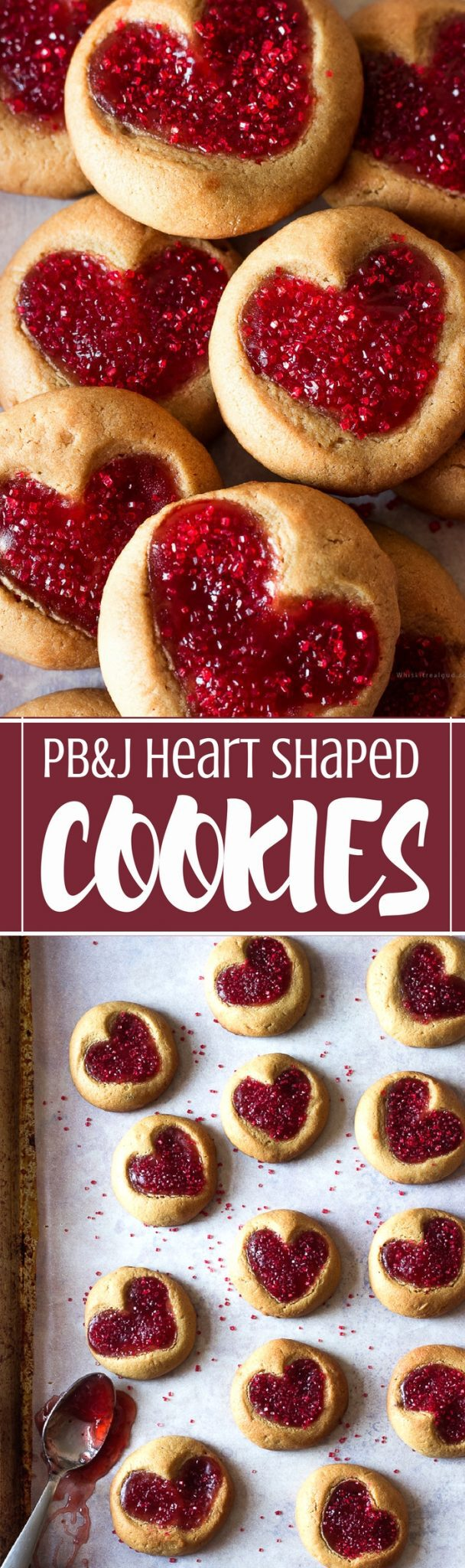 The flavors of classic Peanut butter and Jelly sandwich in a heart shaped cookie form. Soft and chewy peanut butter and jelly shaped cookies are so easy and fun to make. Kids love them!