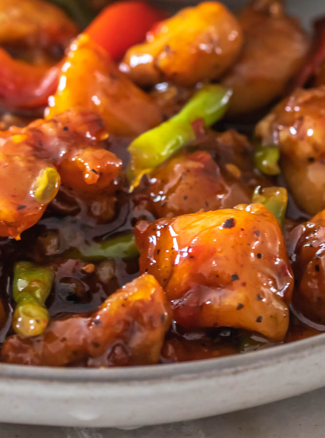 A plate of sweet chili chicken
