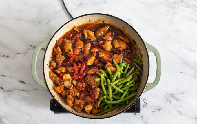 a skillet of sweet chili chicken