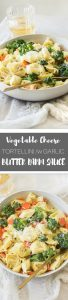 Vegetable Pasta made with cheese tortellini - quick easy and delicious! Adding a buttery garlic Parmesan cheese sauce to your tortellini vegetable pasta is a great and way to incorporate more veggies into your diet. This creamy cheese sauce vegetable pasta is a 20 minute super easy recipe!