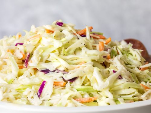 a bowl of creamy southern coleslaw
