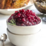 a bowl of cranberry sauce