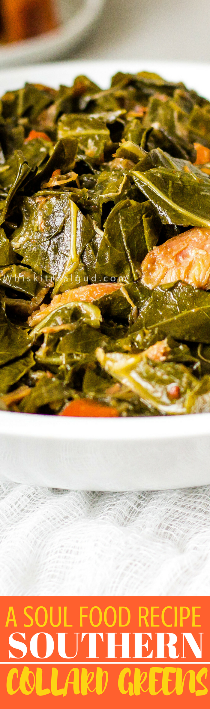 Southern Soul Food Collard Greens Recipe simmered in chicken broth with smoked turkey wings, green and red peppers, onions, garlic, white vinegar, red pepper flakes make this dish so tasty. No one will complain about not having enough meat with these hearty and flavorful collard greens.  Perfect for Thanksgiving or any day of the week. Check out the entire post and the easy step by step pic tutorial!