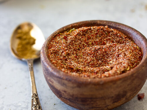 A bowl of seasonings that make up homemade taco seasoning