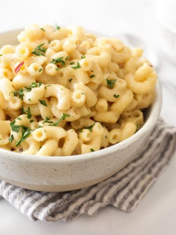 a bowl of creamy stovetop mac and cheese